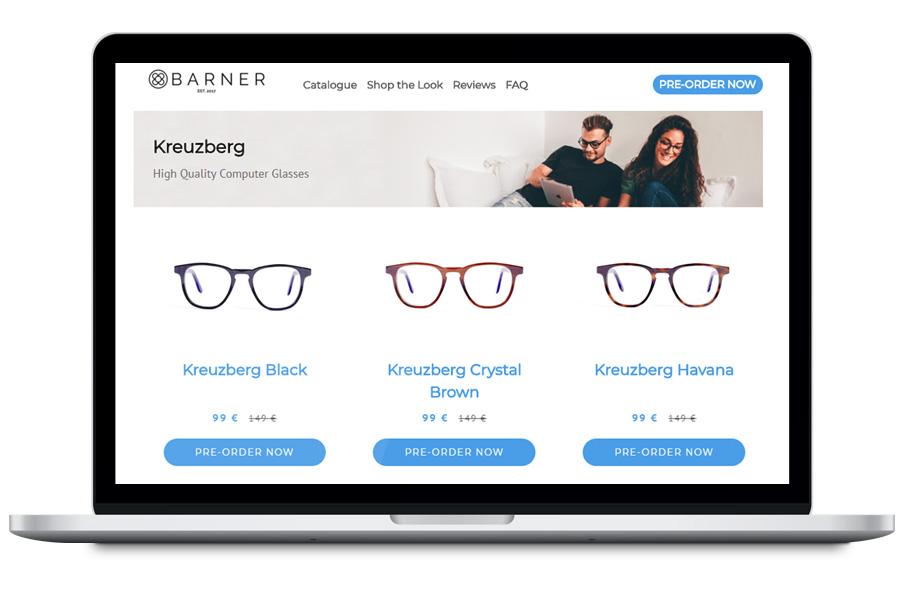 Barner - Diseño de tienda en shopify para marca de gafas
