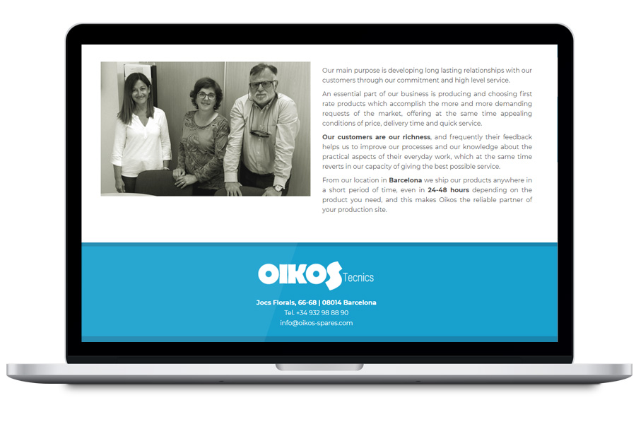 Oikos Spares - Diseño web para empresa de industria gráfica