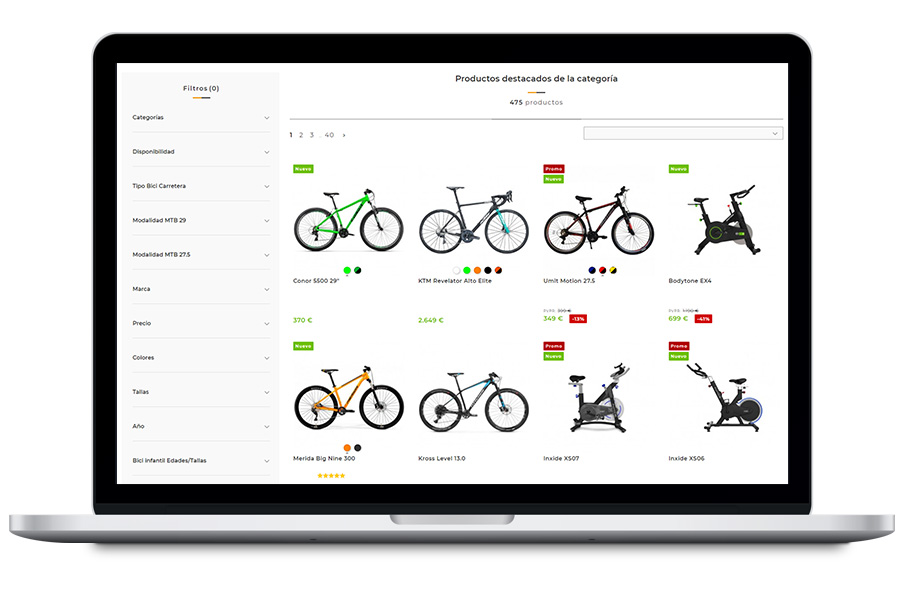 Diseño de tienda online de ciclismo